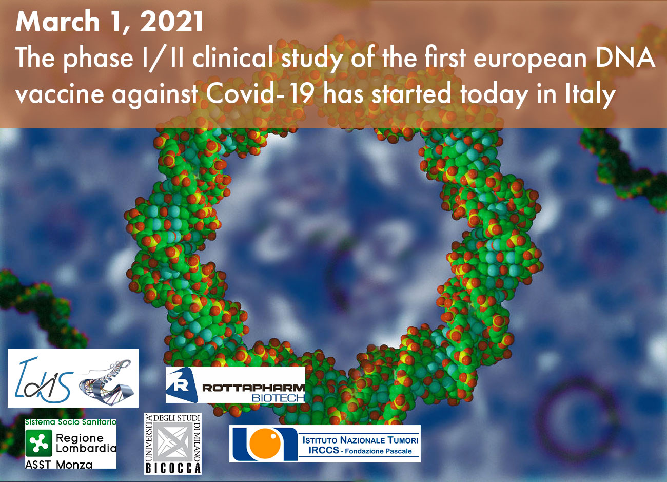 The phase I/II clinical study of the first european DNA vaccine against Covid-19 has started today in Italy